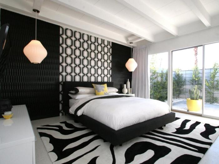 schlafzimmer schwarz weiß muster hängelampen