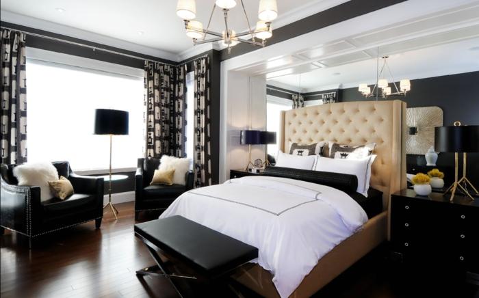 schlafzimmer schwarz weiß retro elemente beiges bett