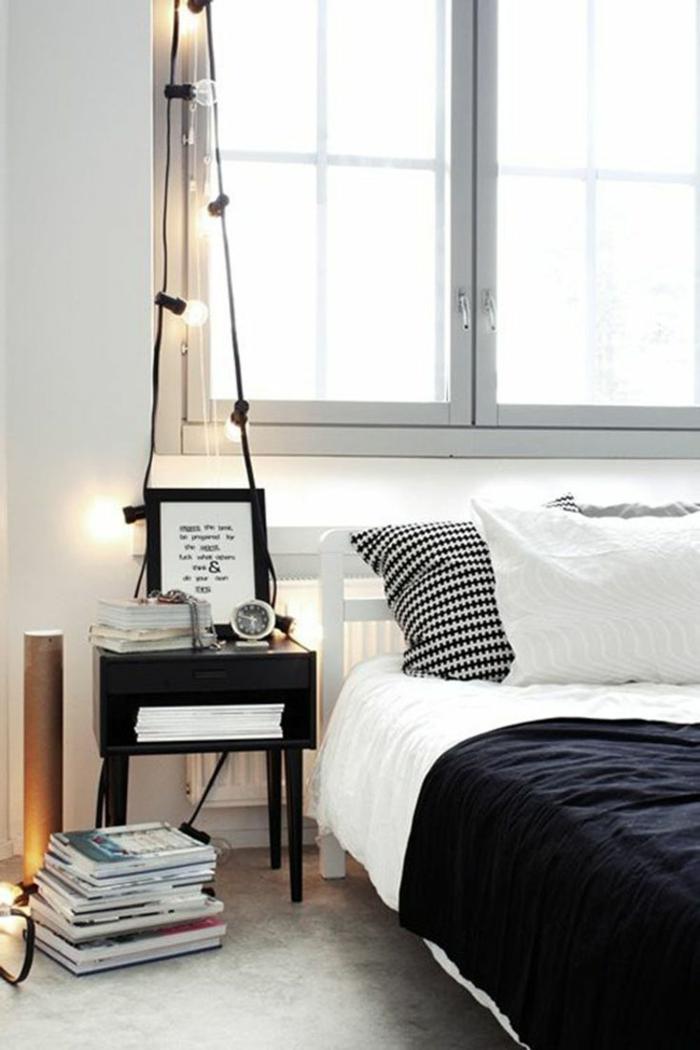 schlafzimmer schwarz weiß schwarzer nachttisch