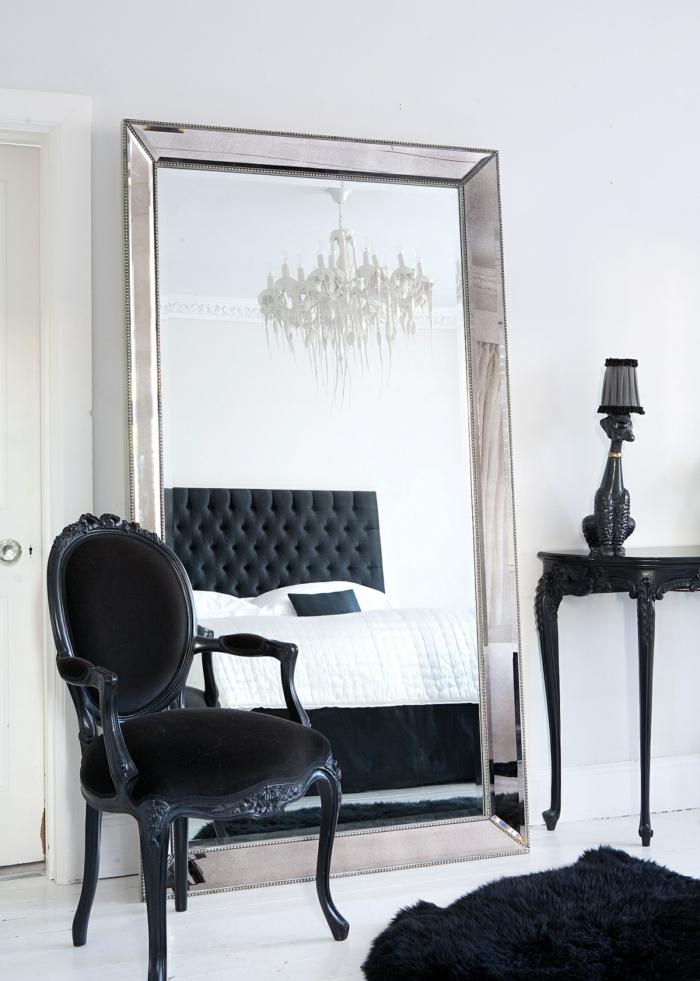 schlafzimmer schwarz weiß spiegel