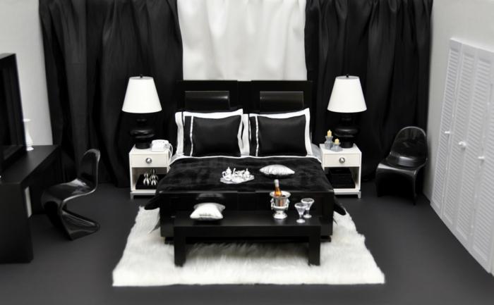 Schlafzimmer Schwarz Weiß Teppich Farbkontraste