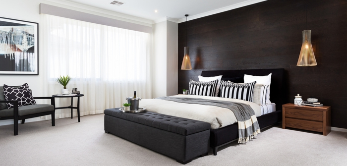 schlafzimmer schwarz weiß teppichboden schwarzes bett