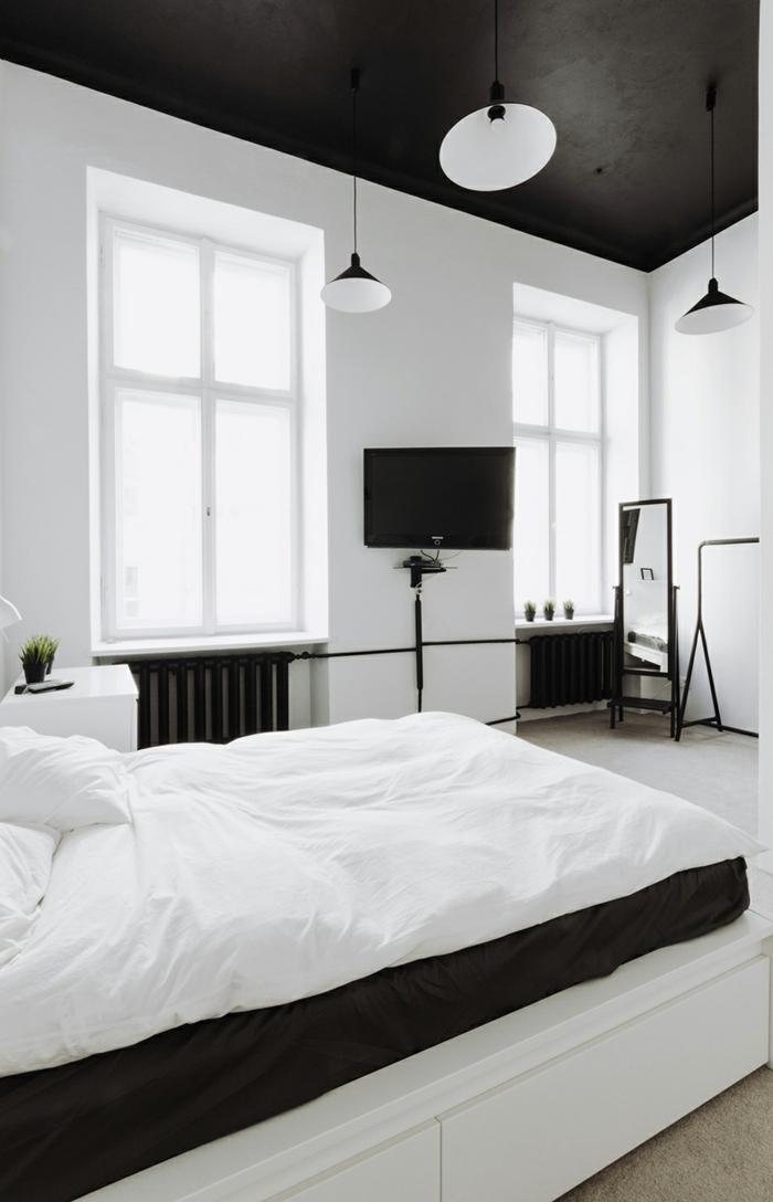 schlafzimmer schwarz weiß zimmerdecke