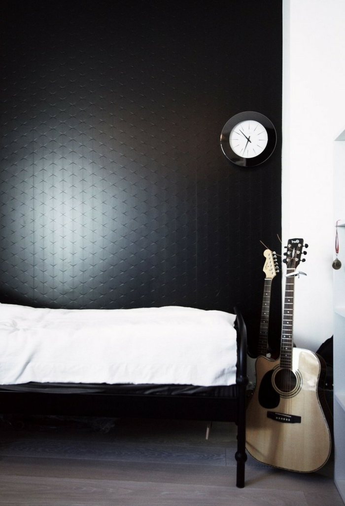 schlafzimmer schwarz wohnideen gitarre