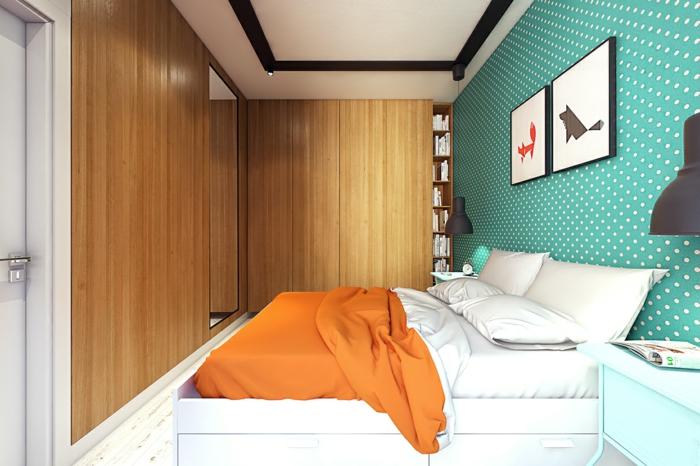 schlafzimmer tapeten kleines schlafzimmer grün weiße punkte