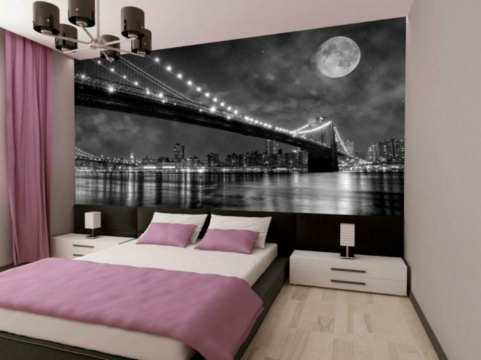 schlafzimmergestaltung akzentwand fototapete hellrosa akzente