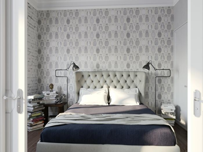 schlafzimmergestaltung tapeten muster eulen neutrale farben