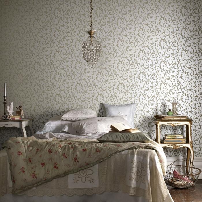 schlafzimmergestaltung wandgestaltung ideen florales muster schöne bettwäsche