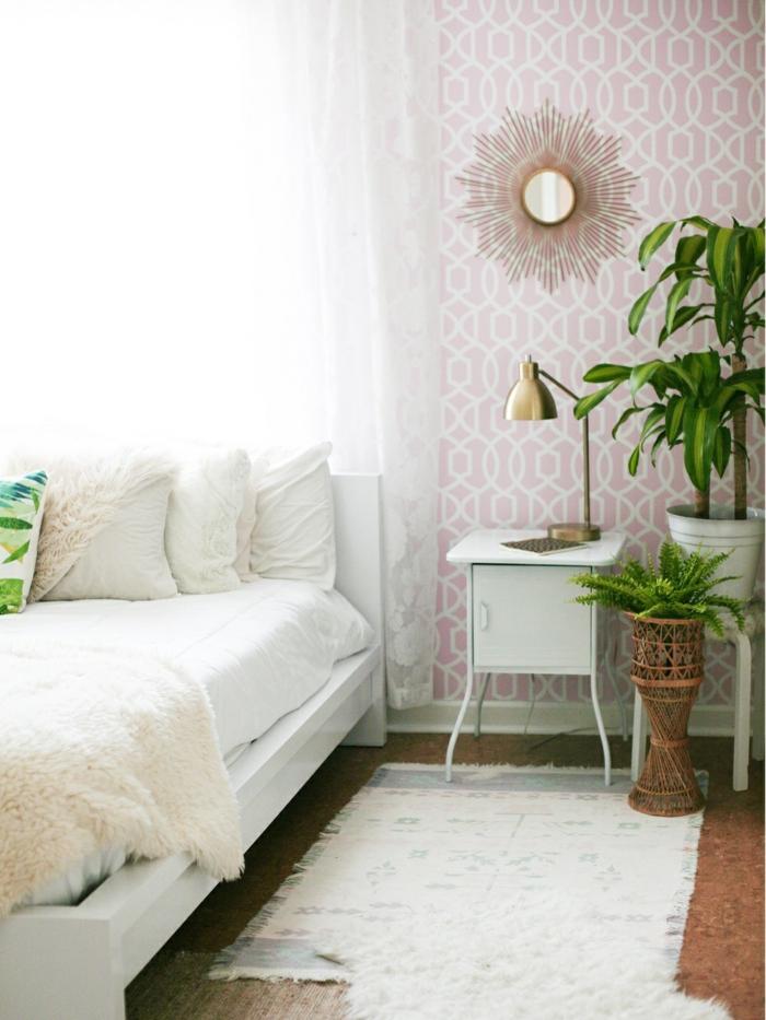 schlafzimmergestaltung wandtapete geometrisches muster teppichläufer pflanzen dekoideen