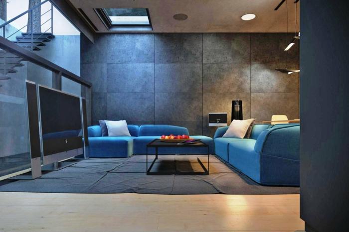 Sofa Blau Grauer Teppich Fernseher Beleuchtung Wohnzimmer