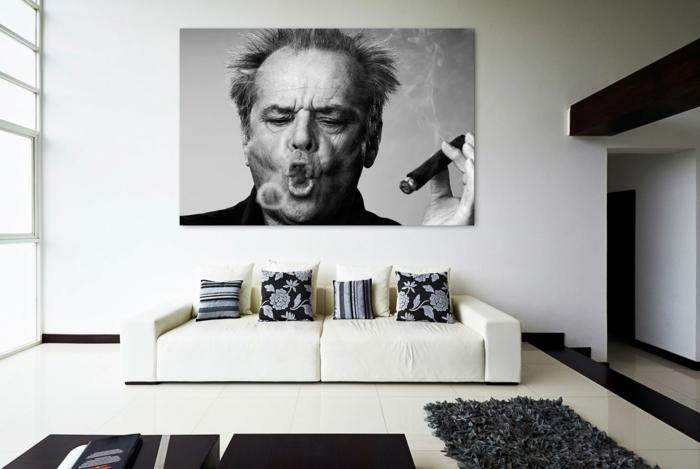 Sofa Weiss Dunkle Dekokissen Wanddeko Wohnzimmer Einrichten