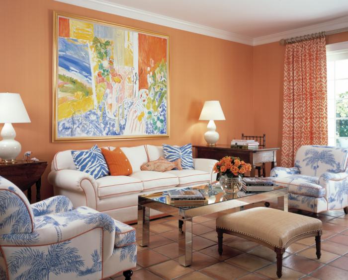 Sofa Weiss Wohnzimmer Orange Akzentwand Bodenfliesen Florale Elemente