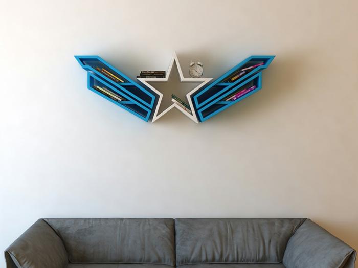 superhelden bücherregale holzregale wandregale stern wandgestaltung