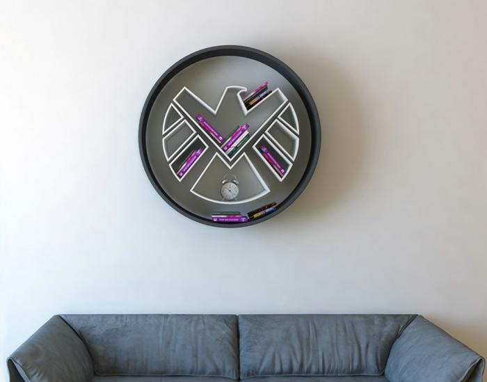 superhelden bücherregale rundes wandregal adler wandgestaltung wanddekoration