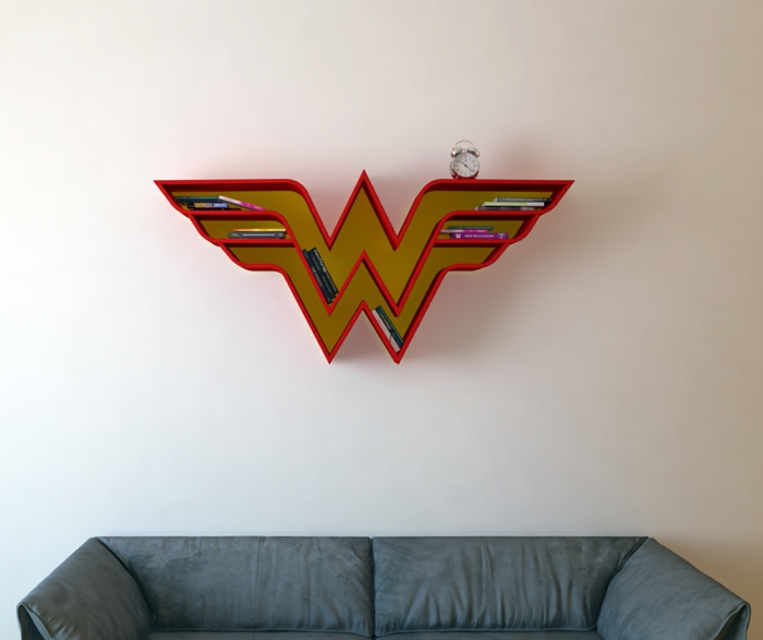 superhelden bücherregale wandregal rot wonder woman wanddekoration