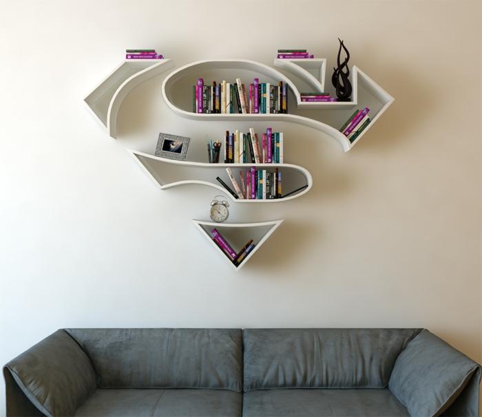 superhelden bücherregale wandregale wandgestaltung wanddekoration