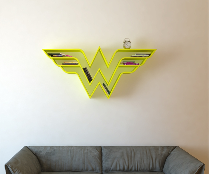 superhelden bücherregale wonder woman wandregal neongelb