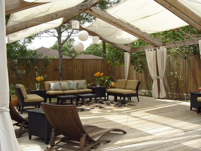 terrassenüberdachung gartengestaltung ideen baldachin gartenmöbel
