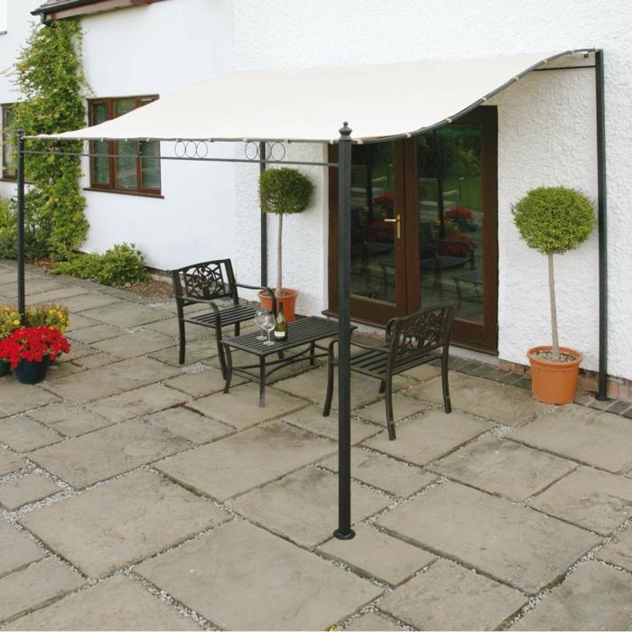 terrassenüberdachung schlicht gartengestaltung ideen pflanzen
