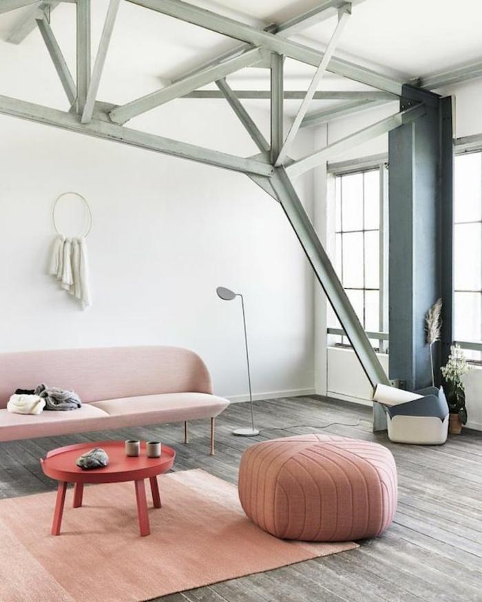 wandfarbe rosa loft wohnung polstermöbel sofa pouf beistelltisch teppichläufer moderne stehleuchte