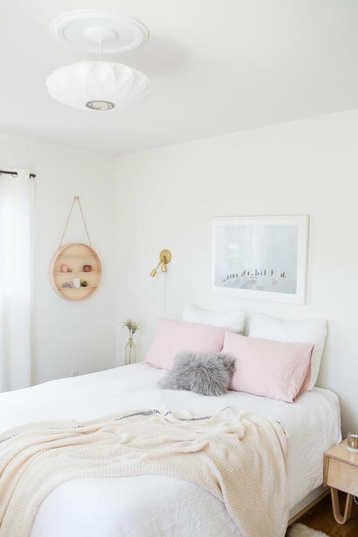 wandfarbe rosa weiße wände schlafzimmer doppelbett bettwäsche