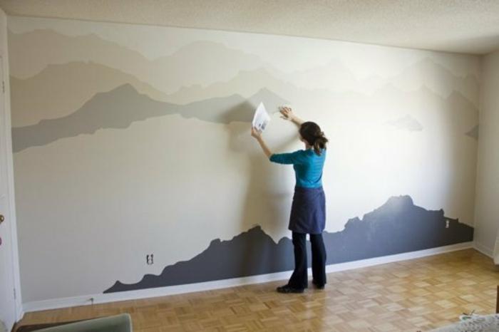 wandgestaltung ideen berge gebirge diy wanddekoration