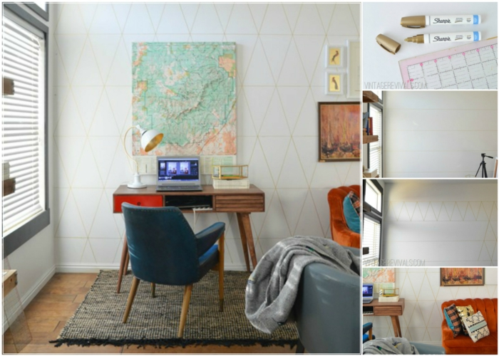 wandgestaltung ideen diy wanddekoration geometrische muster arbeitszimmer