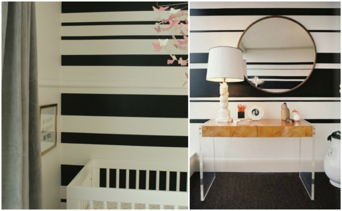 wandgestaltung ideen diy wanddekoration schwarz weiß streifen