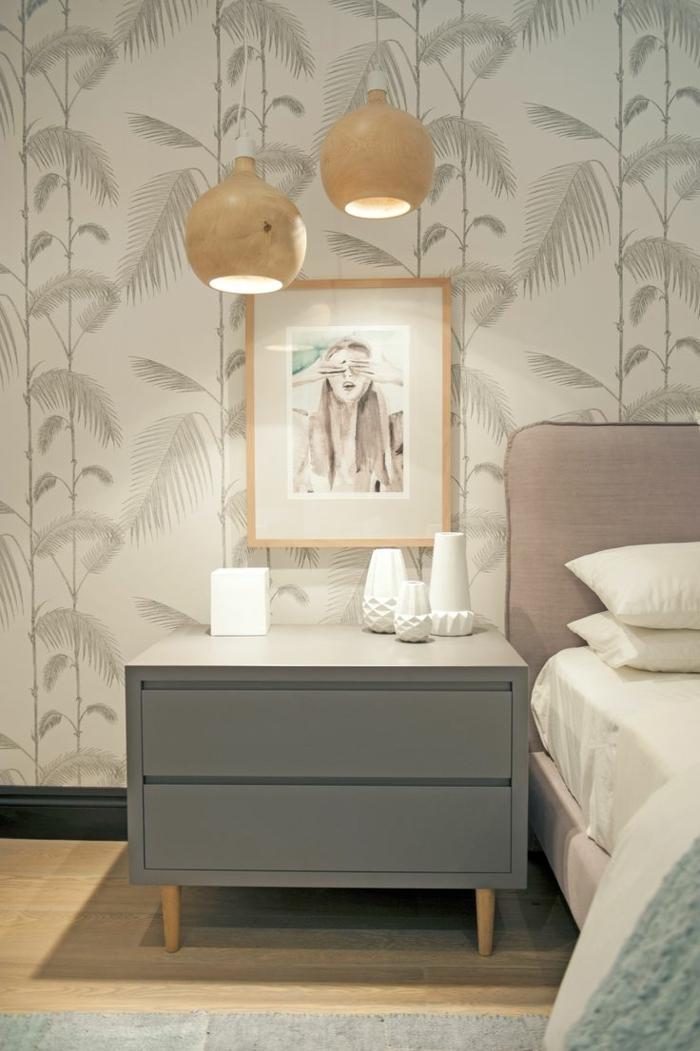 Wandgestaltung Ideen Schlafzimmer Floral Tapete Helle Farben Kombinieren