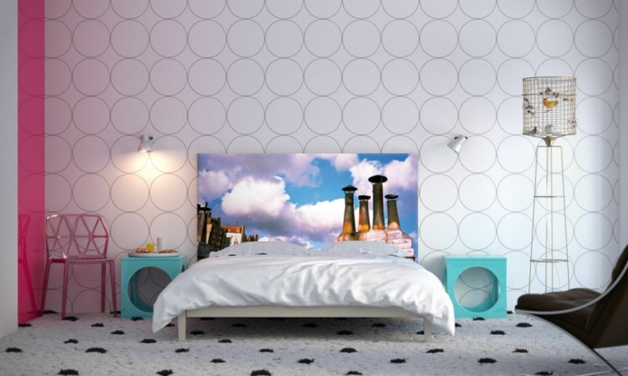 Wandtapeten F?r Schlafzimmer : wandgestaltung ideen schlafzimmer wandtapeten cooles bettkopfteil