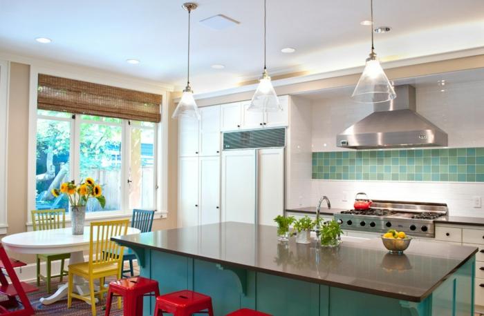 wohnideen küche fliesen farbige küchenmöbel offener wohnplan