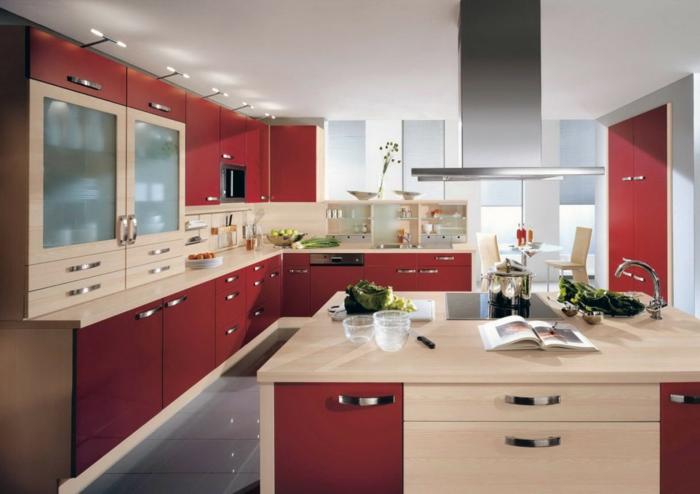wohnideen küche griffe farbige küchenschränke