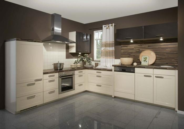 wohnideen küche handgriffe küchenschränke graue bodenfliesen