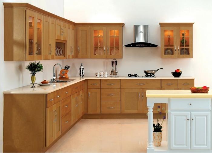 wohnideen küche handgriffe stahl braune küchenschränke weiße kücheninsel
