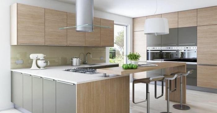 wohnideen küche holztextur küchenschränke große arbeitsfläche