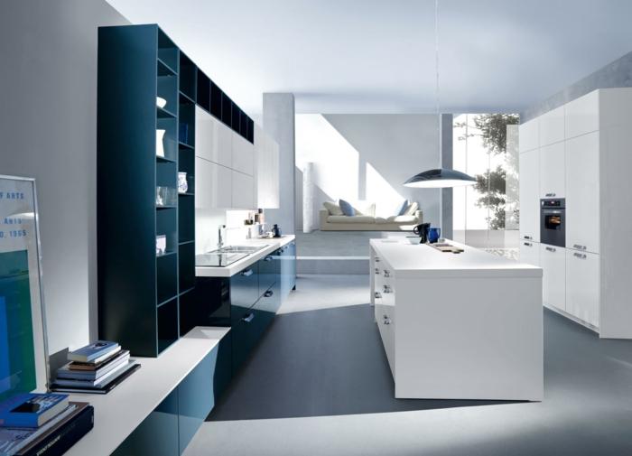 wohnideen küche kücheninsel helles interieur offene regale