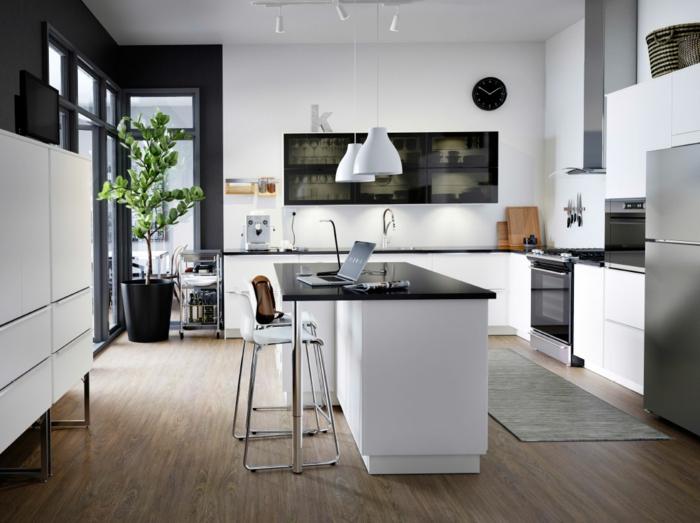 wohnideen küche küchenschränke ohne handgriffe kücheninsel tepichläufer
