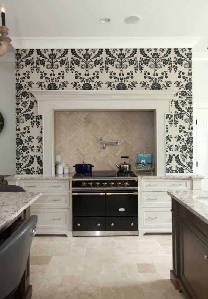 wohnideen küche küchentapete küchenrückwand bodenfliesen