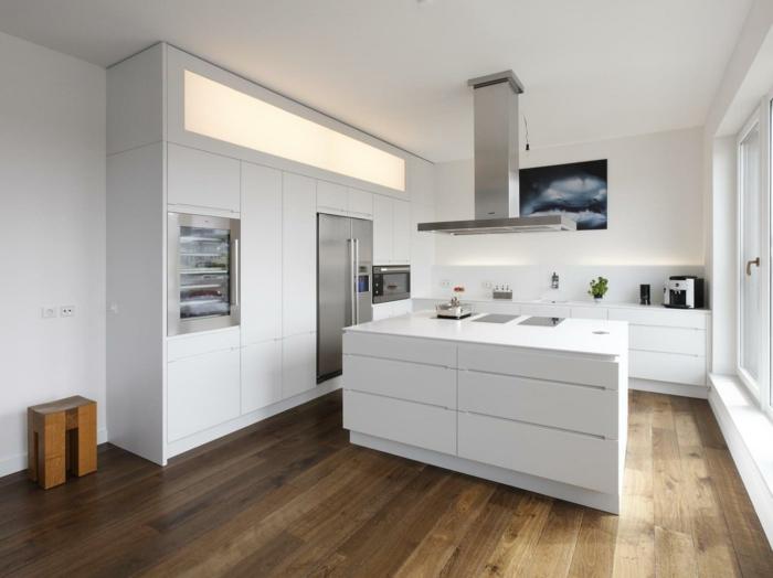 wohnideen küche moderne kücheninsel bodenbelag holzoptik