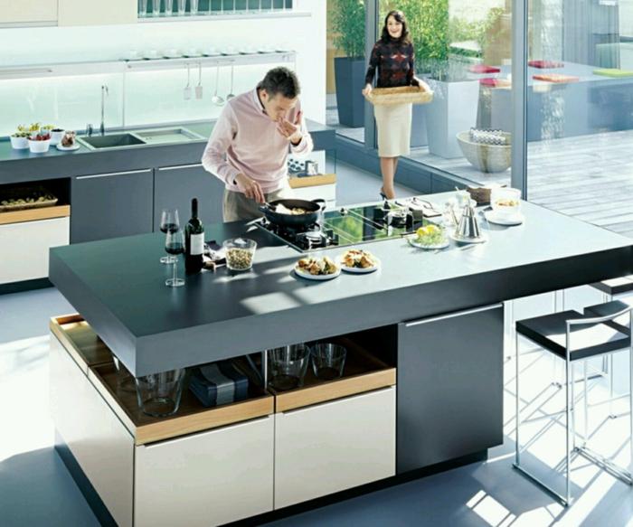 wohnideen küche moderne kücheninsel funktional