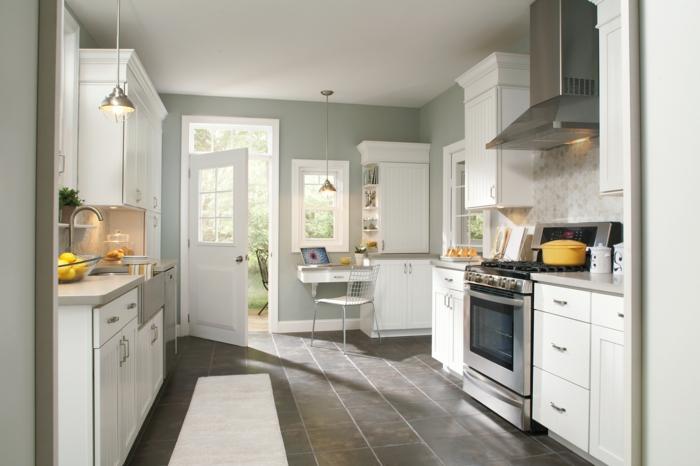 wohnideen küche schlichte handgriffe bodenfliesen kleine küche einrichten