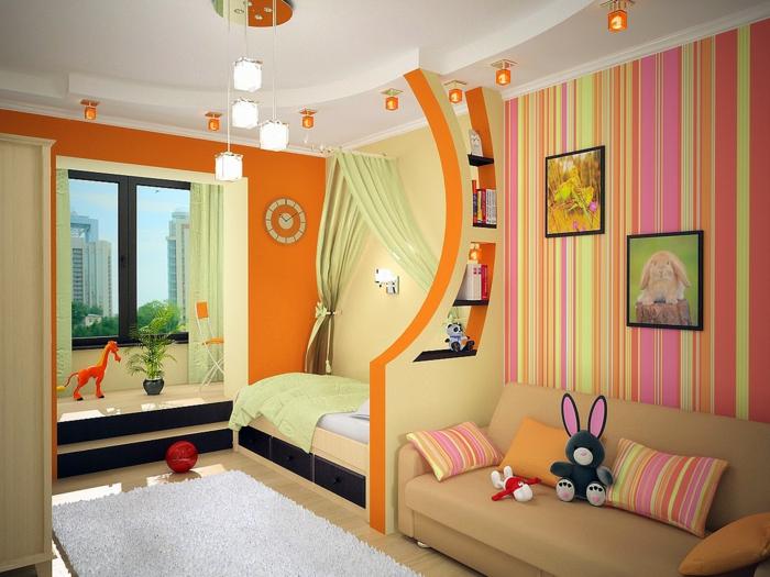 wohnideen kinderzimmer bereiche orange wände weißer teppich pendelleuchten