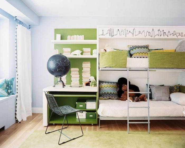 wohnideen kinderzimmer hochbett fensterbank ideen gardinen hellgrüner teppich