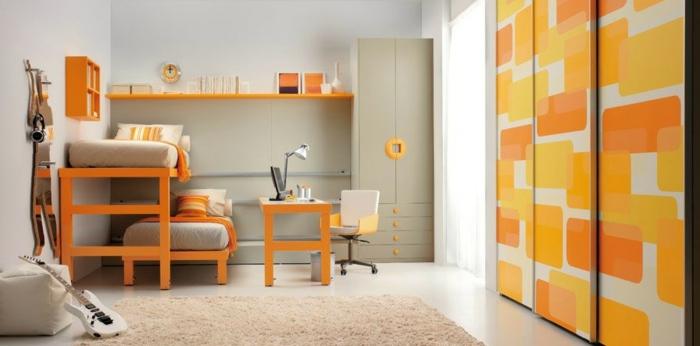 wohnideen kinderzimmer orange möbel kleiderschrank schiebetüren