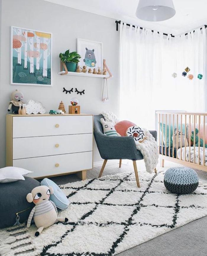 wohnideen kinderzimmer teppich dekoideen kommode graue sitzmöbel