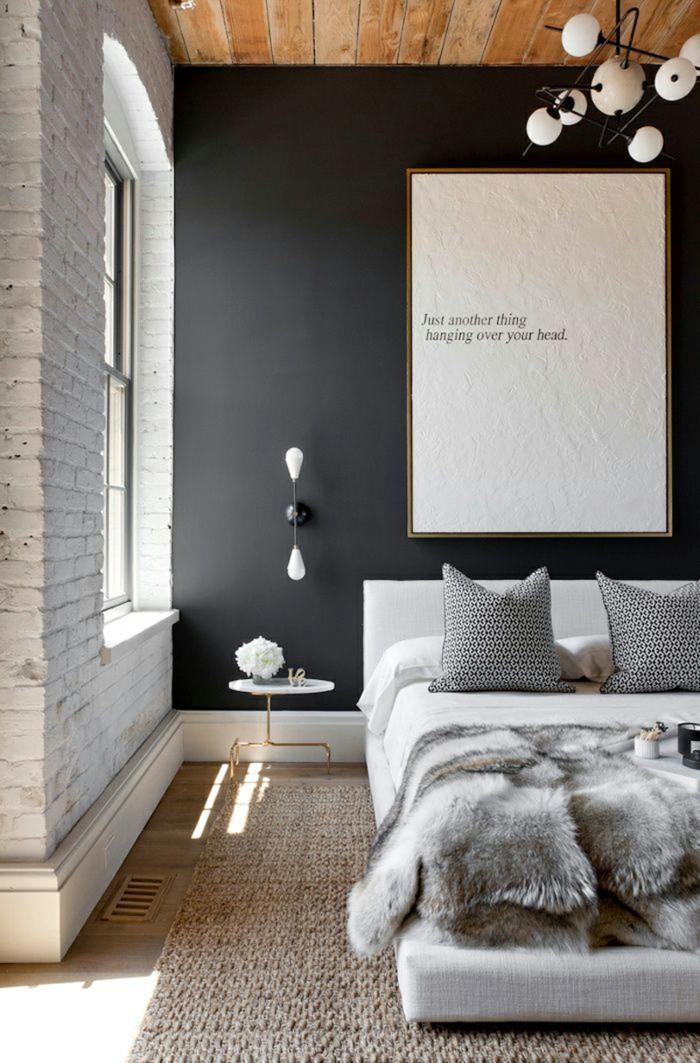 wohnideen schlafzimmer akzentwand beiger teppich leuchter