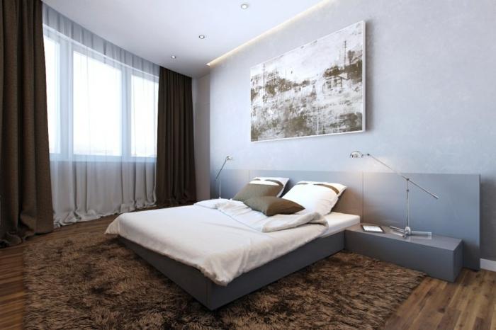 wohnideen schlafzimmer brauner teppich wanddeko funktionale möbel minimalistische einrichtung