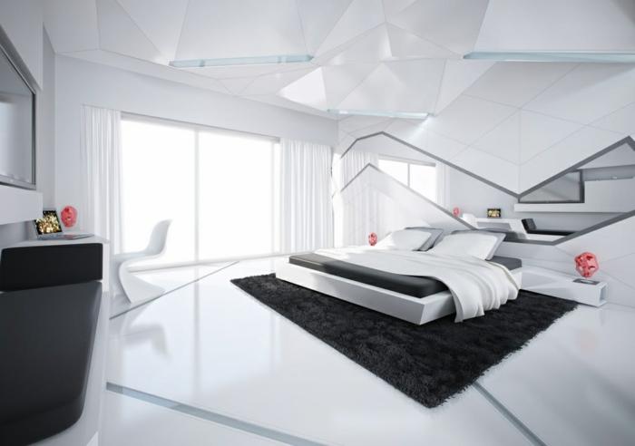 wohnideen schlafzimmer futuristsch schwarzer teppich weißer boden