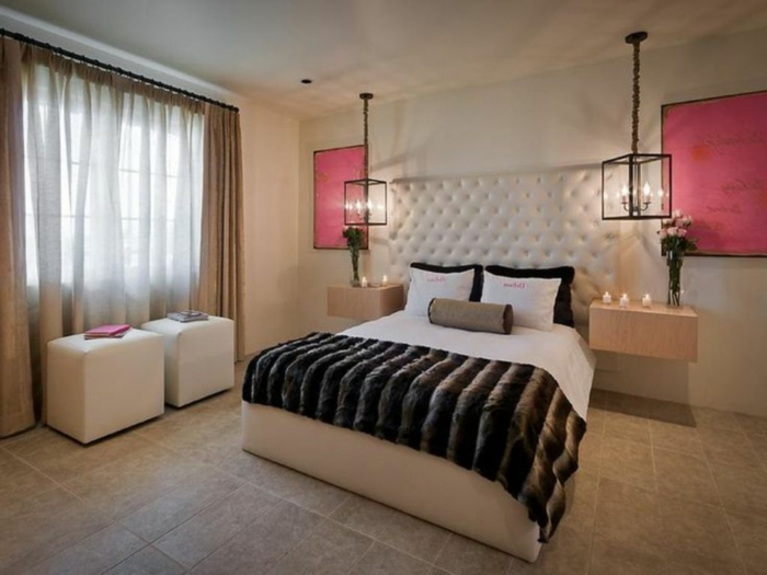 wohnideen schlafzimmer hängelampen retro look bodenfliesen