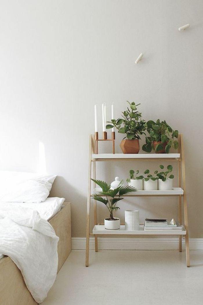 wohnideen schlafzimmer pflanzen offene regale weiße wände